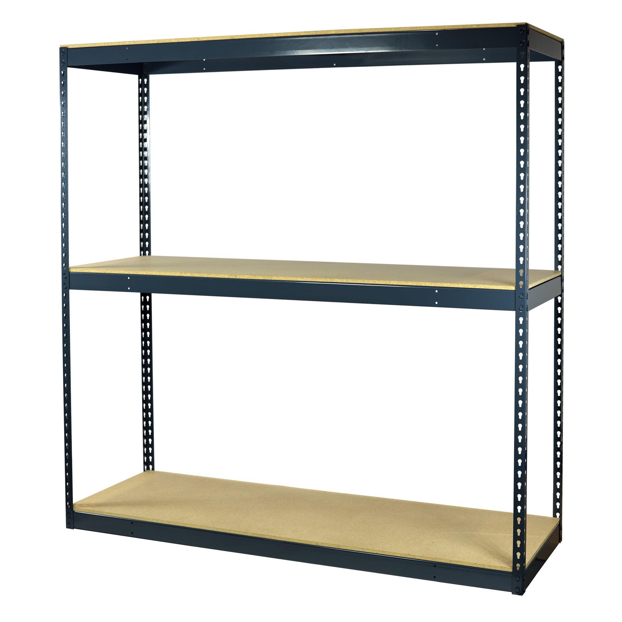 Storage Max Garage Shelving Boltless, 60 x 36 x 72, Heavy Duty, Double Rivet Beams, 3 Shelves