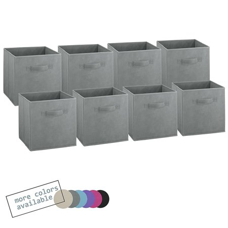 set of 8 foldable fabric storage cube bins collapsible cloth organizer baskets containers. Black Bedroom Furniture Sets. Home Design Ideas