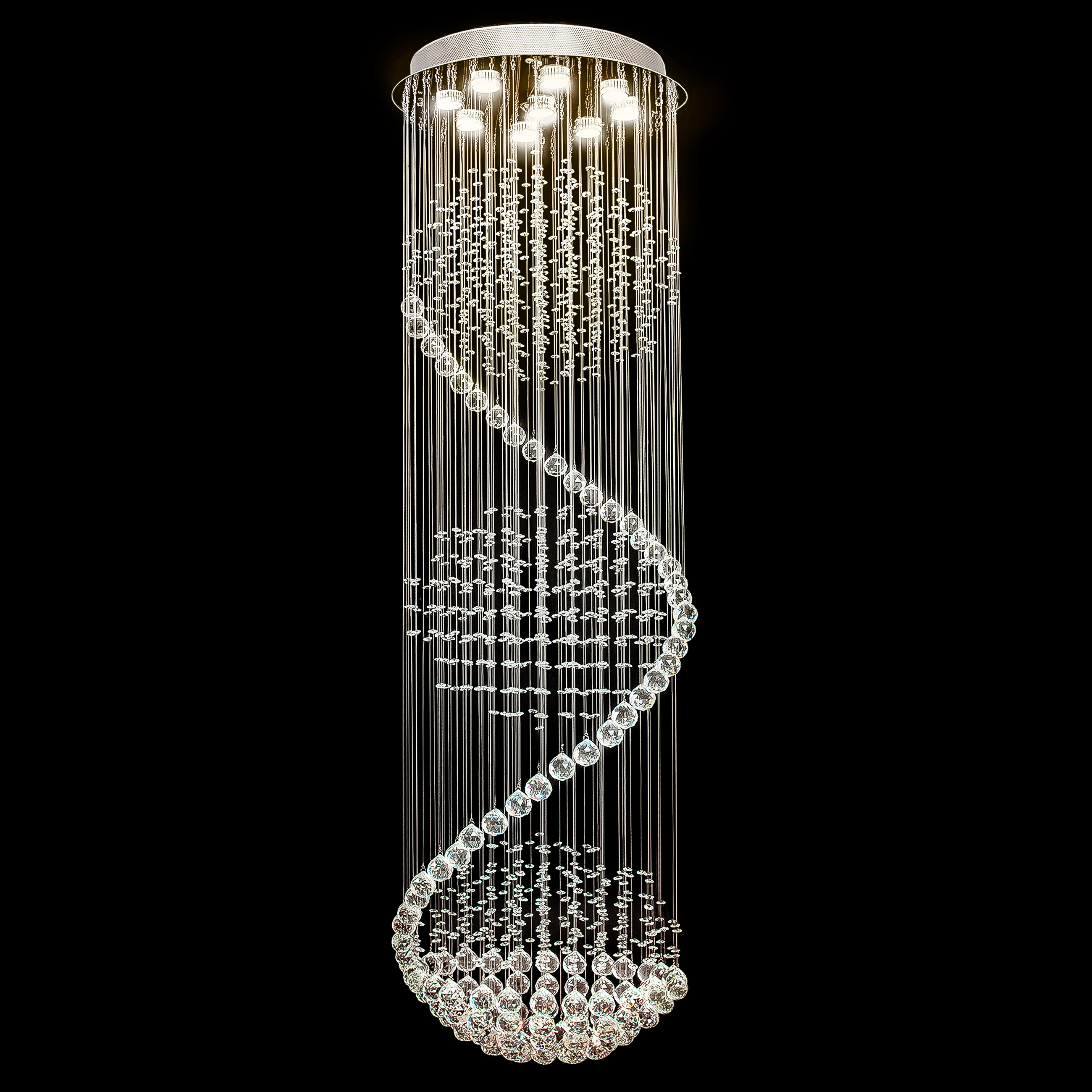 Best Choice Products Modern LED Spiral Rain Drop Chandelier Lighting Fixture for Living Room, Hallway, Entryway Silver by Best Choice Products
