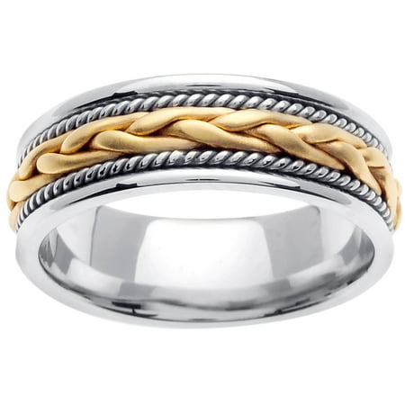 - 18K Two Tone Gold French Braid Handmade Comfort Fit Women's Wedding Band (7mm)