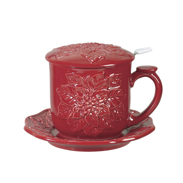 Andrea by Sadek - 10 oz.. Covered Tea Set - Red Poinsettia