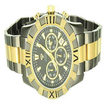 Roman Numeral Set Golden   Black Triple Dial Aqua Master Metal Band Watch Mens