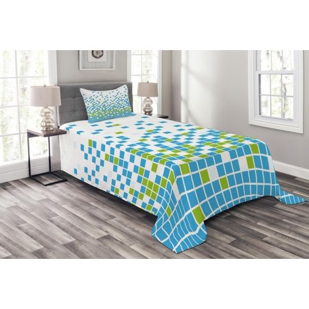 Modern Bedspread Set, Mosaic Grid Pattern Pixel Art Digital Design Graphic Squares Illustration, Decorative Quilted Coverlet Set with Pillow Shams Included, Lime Green Aqua White, by Ambesonne