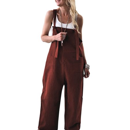 Womens Jumpsuits Summer Casual Loose Solid Dungarees Playsuit Wide Leg Harem Pants Baggy Sleeveless Straps Overalls Black Duck Work Dungaree