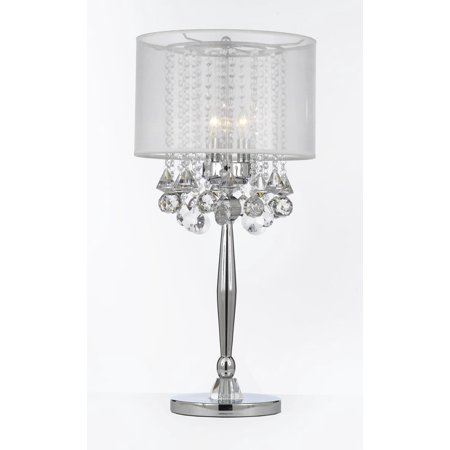 Silver Mist 3 Light Chrome Crystal Table Lamp with Shade Contemporary Modern Living Room,For