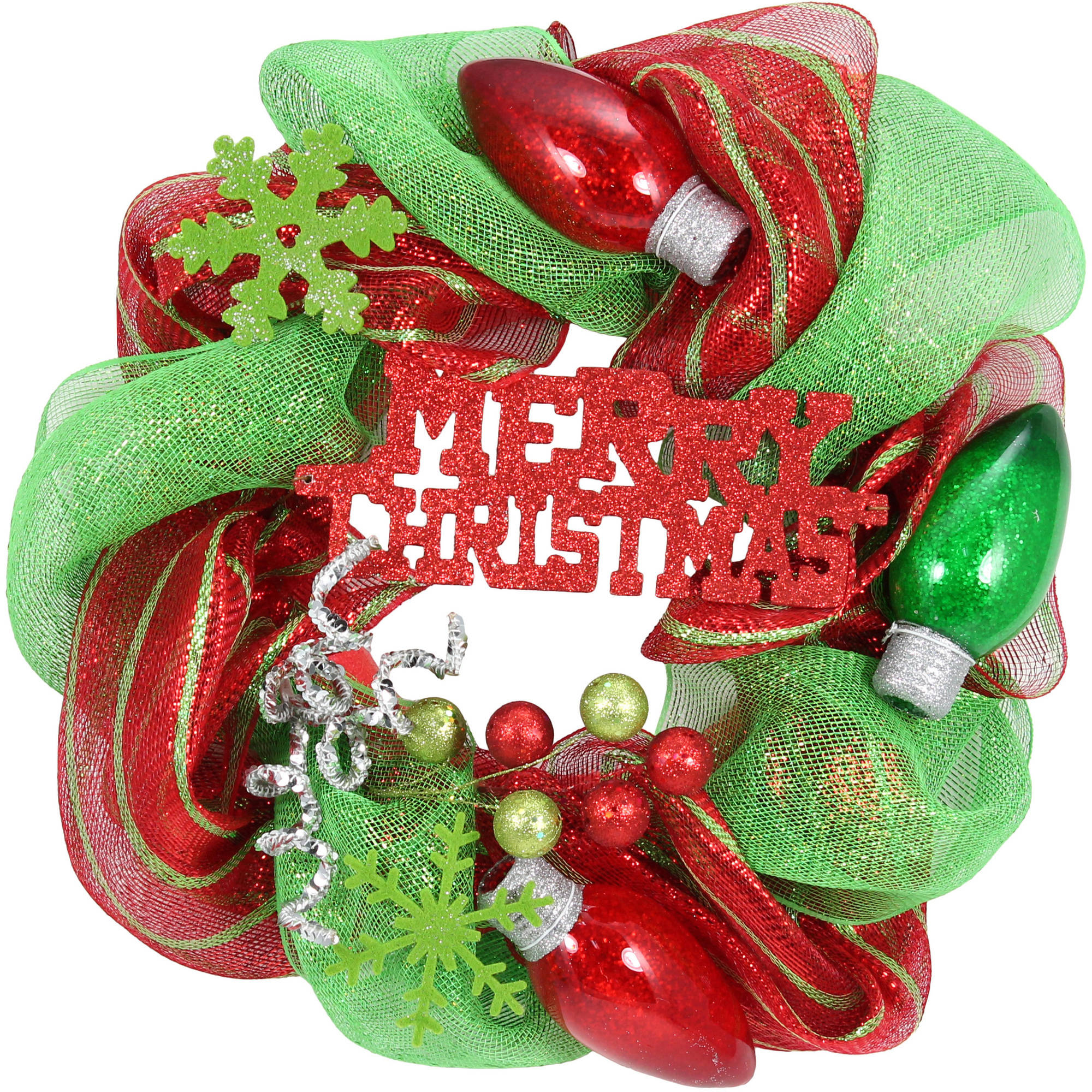 "Holiday Time Christmas Decor 20"" Red and Green Mesh Wreath"