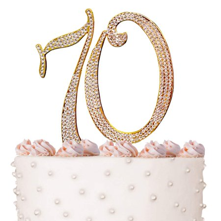 70, 70th Happy Birthday Cake Topper, Anniversary, Crystal Rhinestones on Gold Metal, Party Decorations, Favors, Vow Renewal - Happy 70th Birthday Decorations