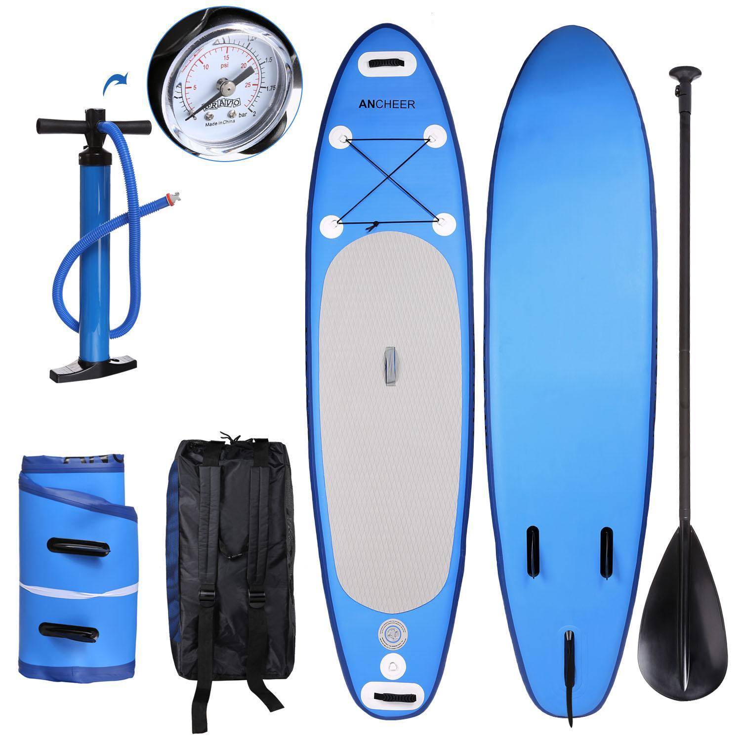 """Hascon 10' 6"""" Inflatable SUP Blue Stand Up Paddle Board with Adjustable Paddle, Pump and Backpack by"""