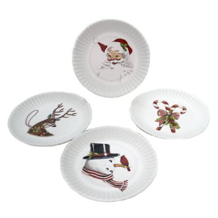 Tabletop RETRO CHRISTMAS PLATE Melamine Santa Snowman Reindeer Canes Me0269
