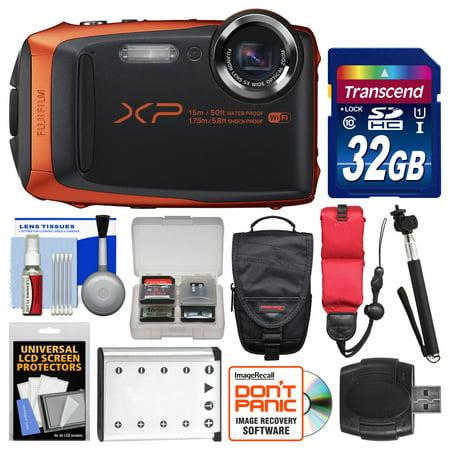 Fujifilm FinePix XP90 Shock & Waterproof Wi-Fi Digital Camera (Orange) with 32GB Card + Case + Battery + Selfie Stick + Float Strap + Kit (Fujifilm Finepix S)