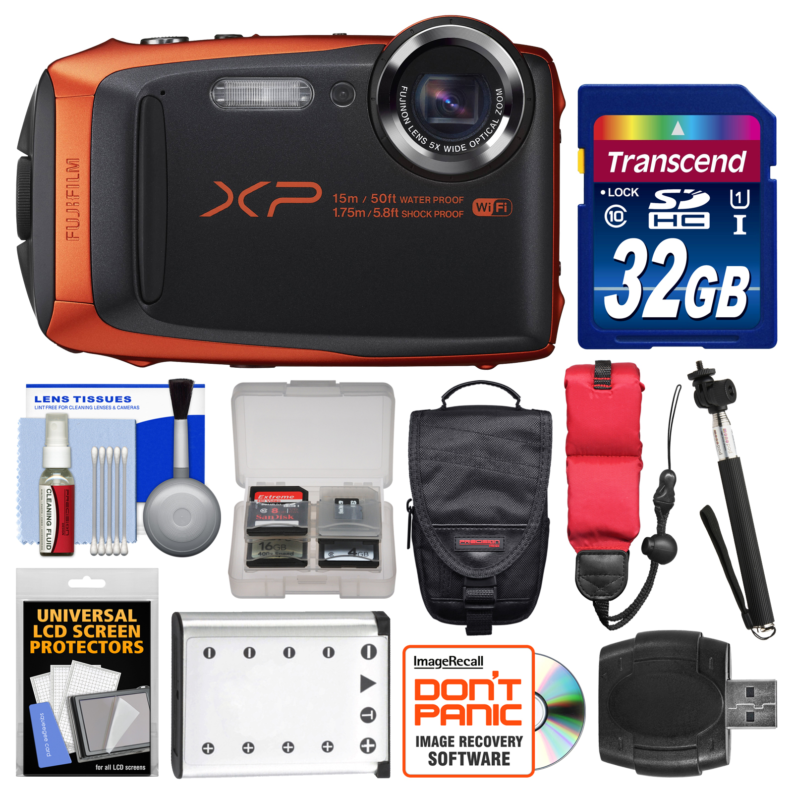 Fujifilm FinePix XP90 Shock & Waterproof Wi-Fi Digital Camera (Orange) with 32GB Card + Case + Battery + Selfie Stick + Float Strap + Kit