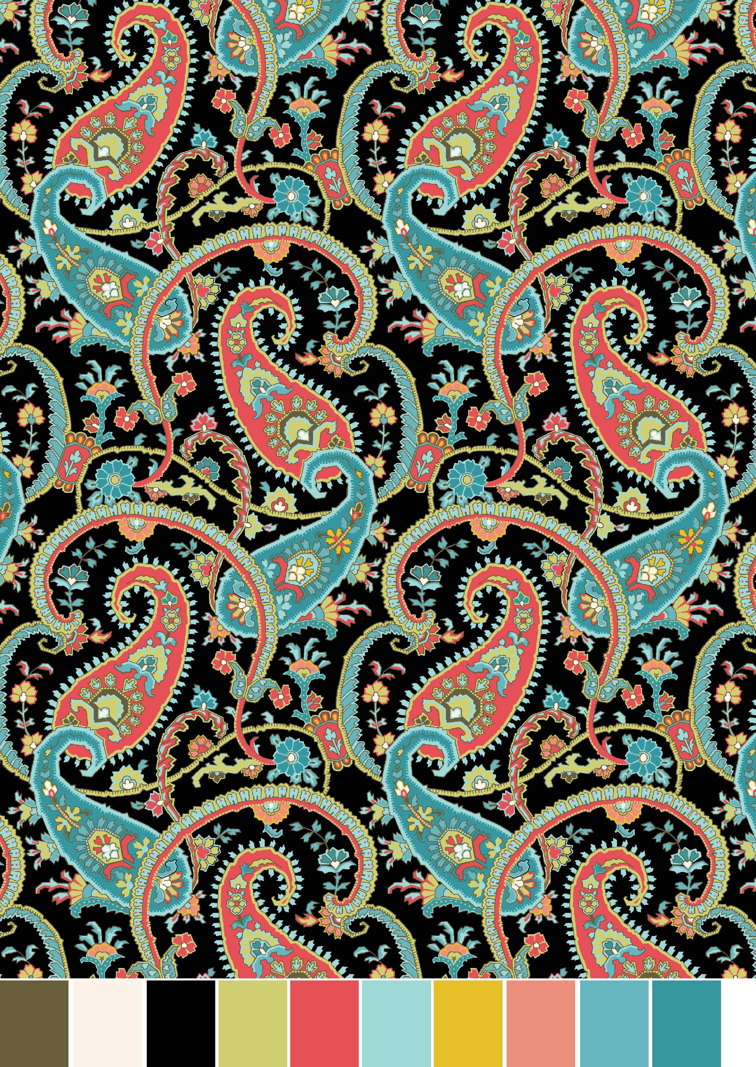 RTC Fabrics 100% Cotton Jet Jacobean Black Paisley Fabric ...