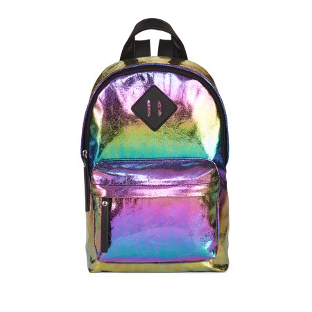 No Boundaries Rainbow Metallic Suede Mini Dome Backpack Option 2](Rainbow Backpack)