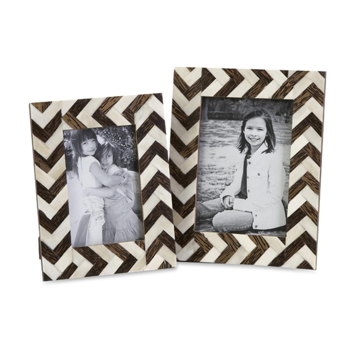 Set of 2 White Bone Inlay and Brown Chevron Pattern Photo Picture Frames