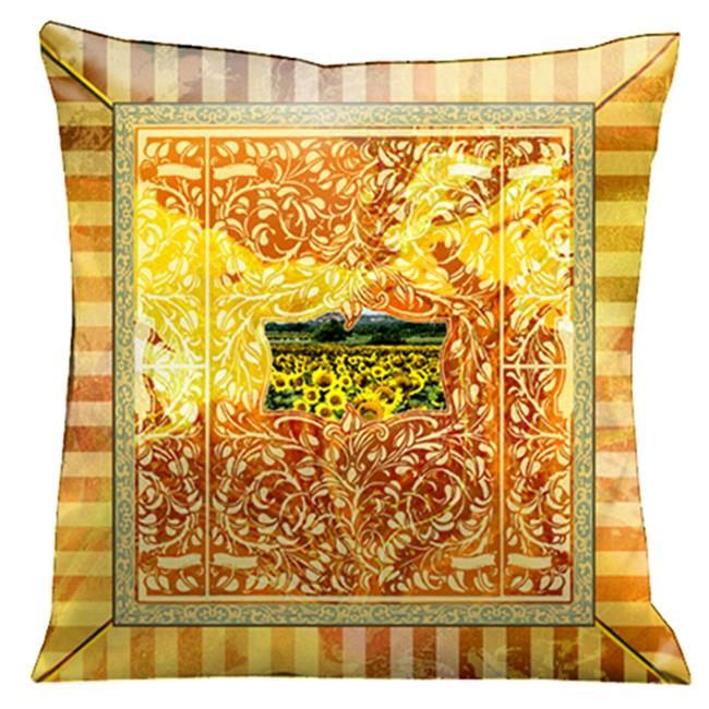 Lama Kasso 101S Beautiful Aged Effect with Tuscan Countryside, Gold and Orange Scrolls and Stripes 18 in. Square Micro-Suede Pillow