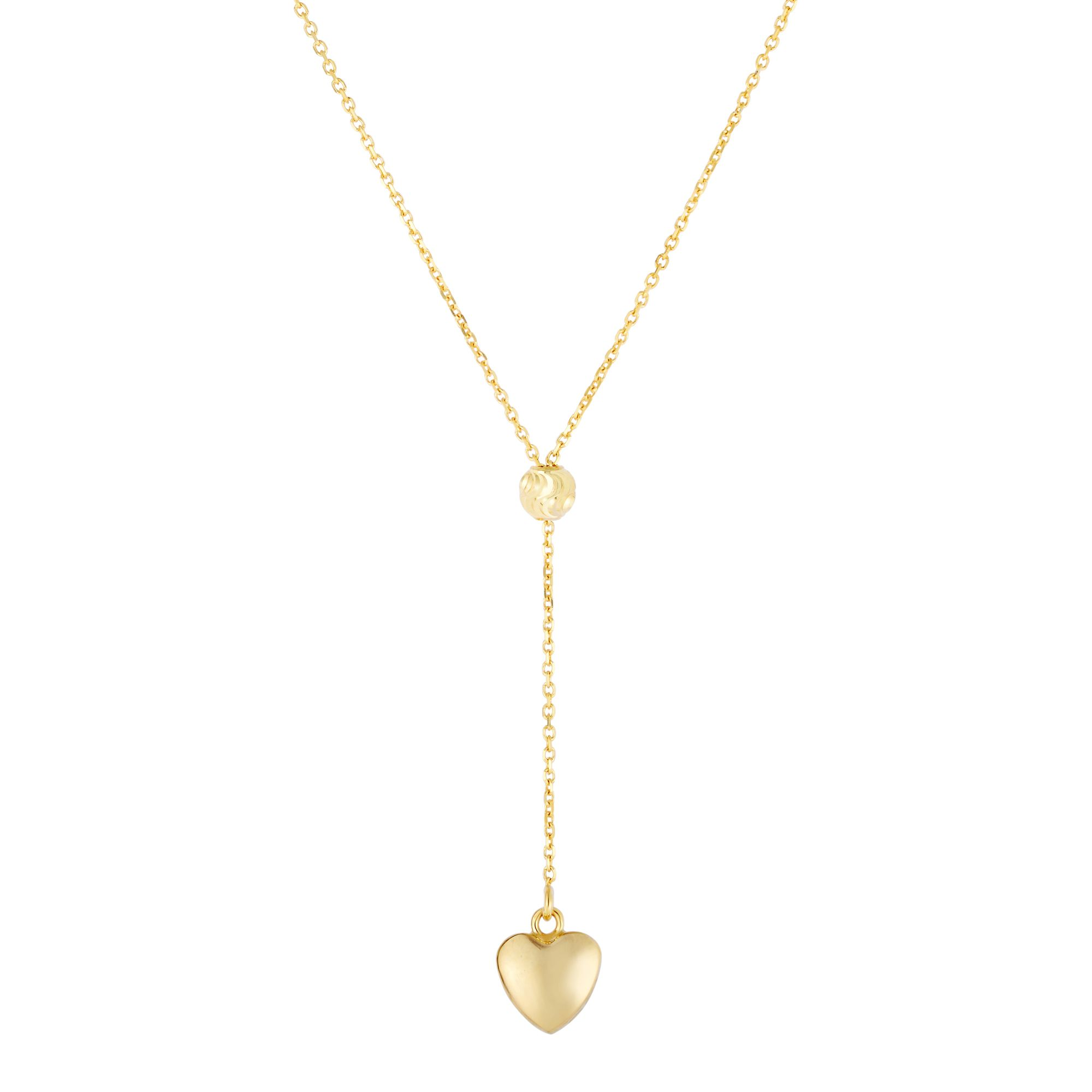 14K Yellow Gold Shiny Heart Drop on Link Necklace with Lobster Clasp:Stationary Bead. Not Moveable!! by Goldia