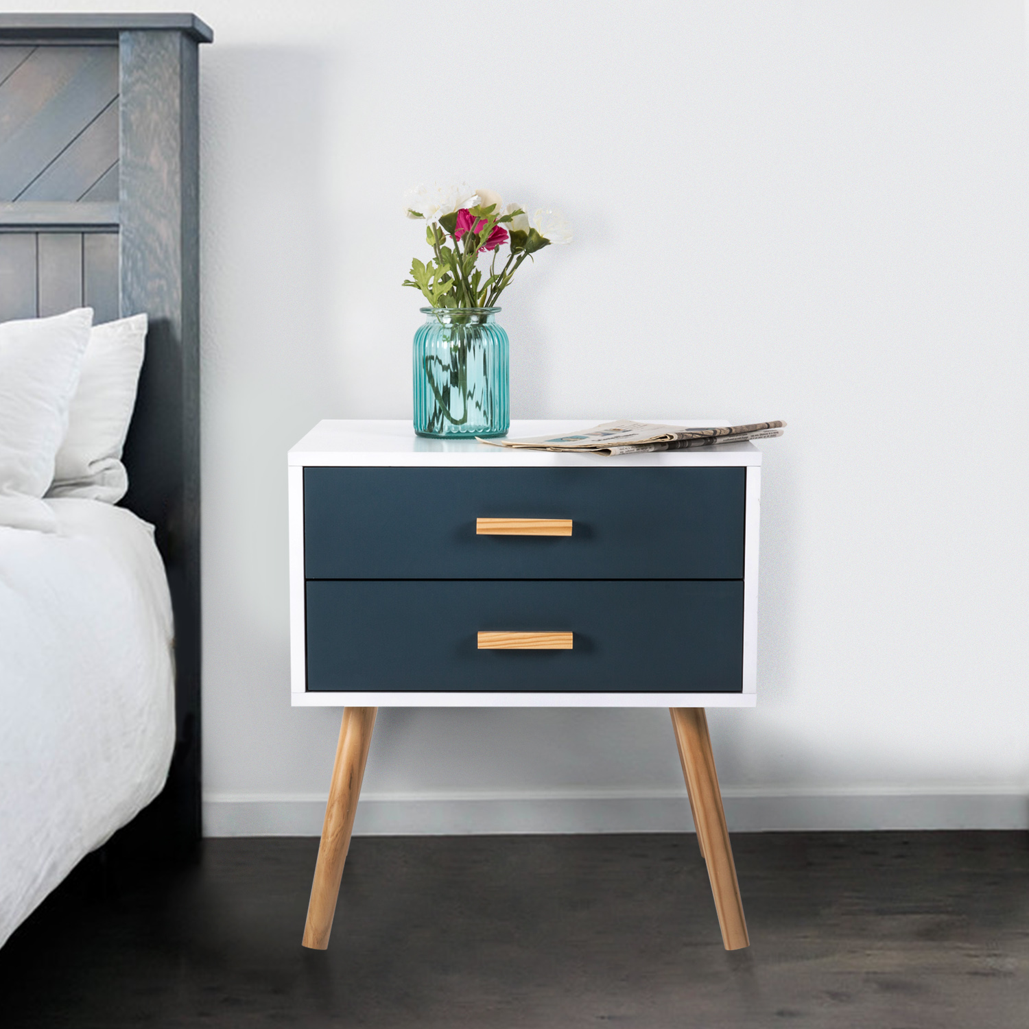 Kinbor Side End Table Nightstand Bedroom Living Room Table Cabinet With 2 Drawers Storage