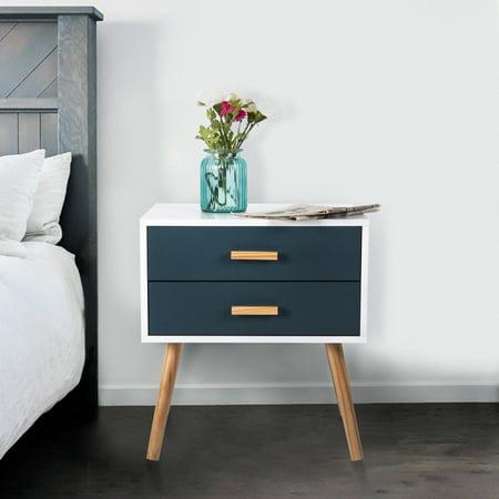 Kinbor Side End Table Nightstand Bedroom Living Room Table Cabinet With 2 Drawers - Pulaski Bedroom Cabinet