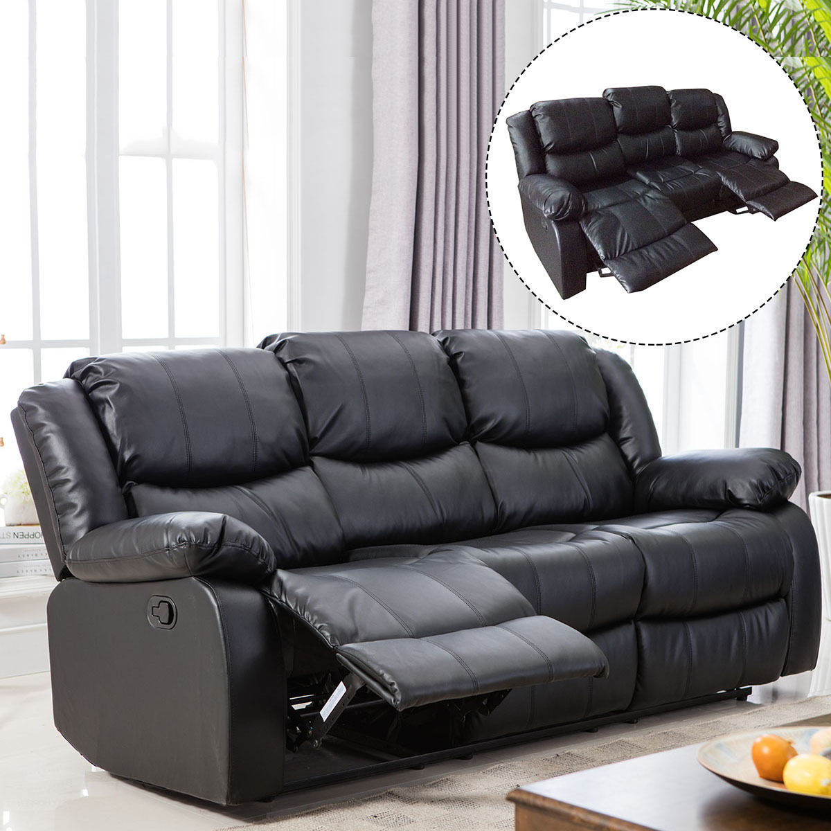 Costway Black Motion Sofa Loveseat Recliner Living Room Bonded Leather Furniture(3 seat)