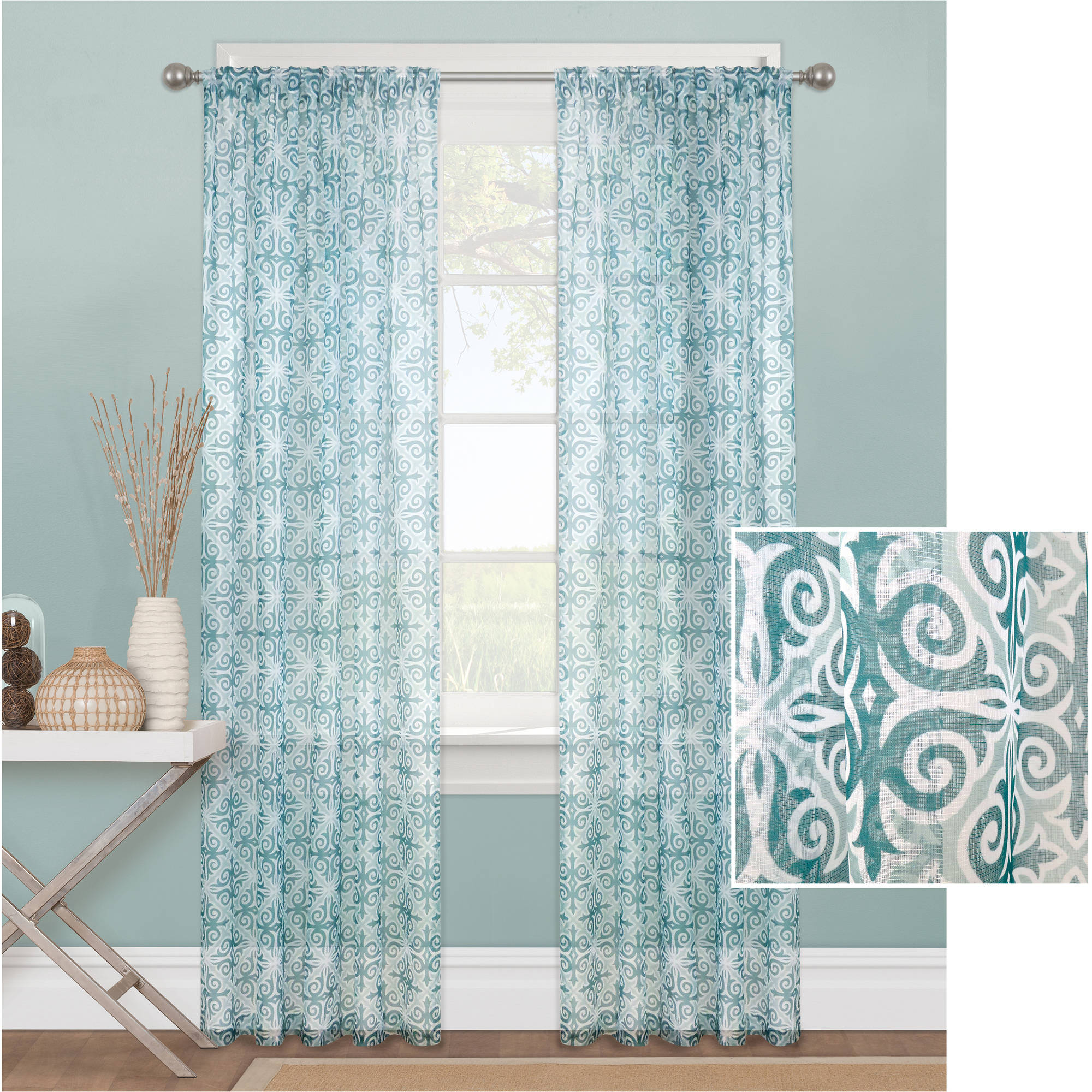 mainstays tile scroll sheer window curtain panel - Sheer Curtain Panels