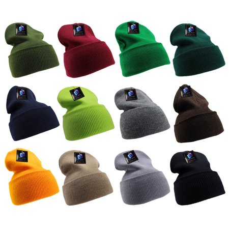 Long Cardinal Knit Beanie (Enimay Men's Women's Winter Long Beanie Hat Knit Cap Assorted 12)