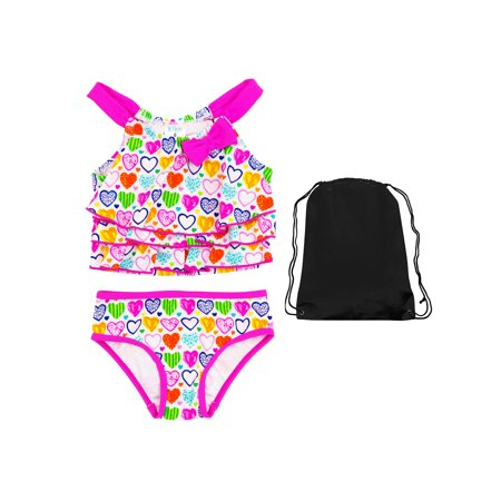 (Kiko & Max Toddler Girls Heart Tankini 2 Piece Swimsuit Swimwear with Bag 2T)
