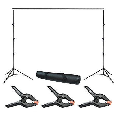 Loadstone Studio 10 ft. Wide Adjustable Background Muslin Support Structure System Stand and Cross Bar for Screen Backdrop with 3 Pack of Support Clamp, Stable Thick Pole, Photography Studio, WMLS4254