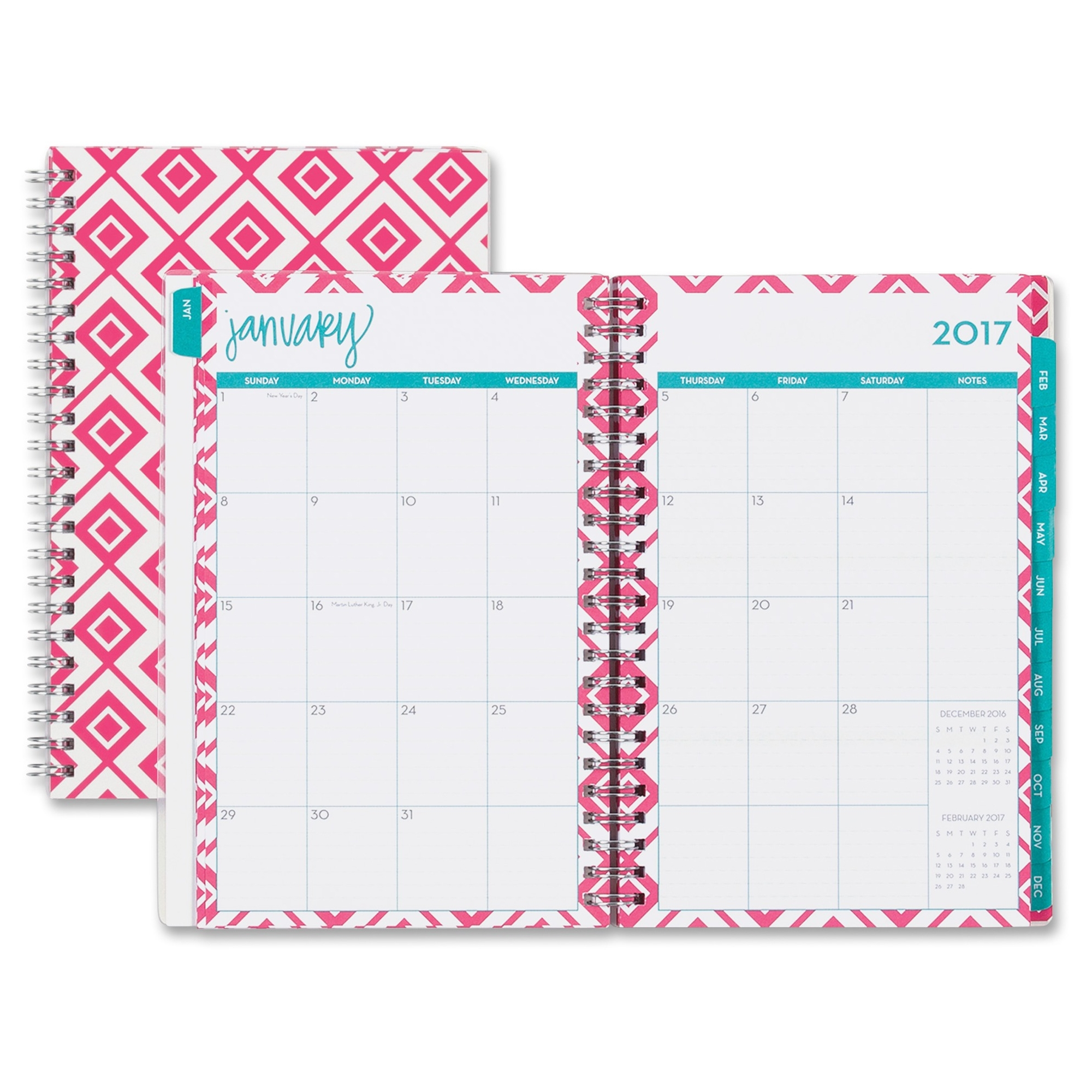 Blue Sky Lucy Frosted Planner - Weekly, Monthly, Daily - 1 Year - January Till December - 2 Month, 2 Week Double Page Layout - Twin Wire - Frosted, Multicolor - Tabbed, Writable Surface, (bls-19304)