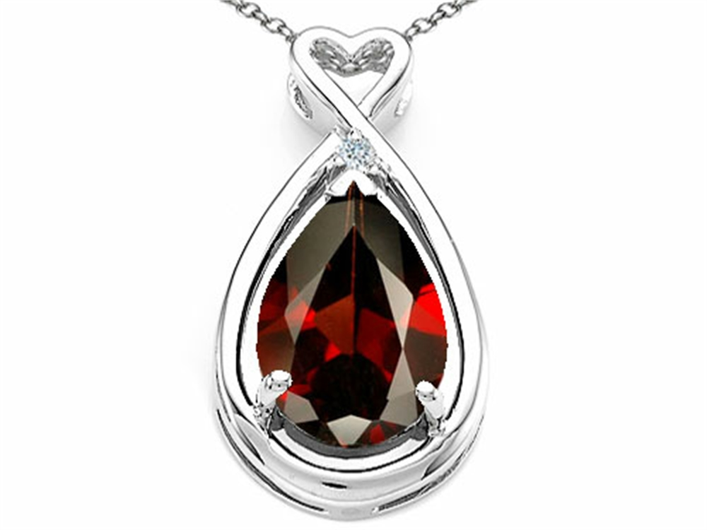 Tommaso Design Pear Shape 11x8mm Genuine Garnet Pendant Necklace by