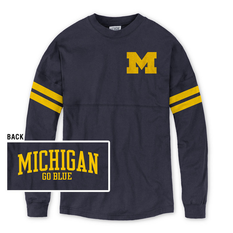 Michigan Wolverines Women's Long Sleeve Tshirt Navy L by
