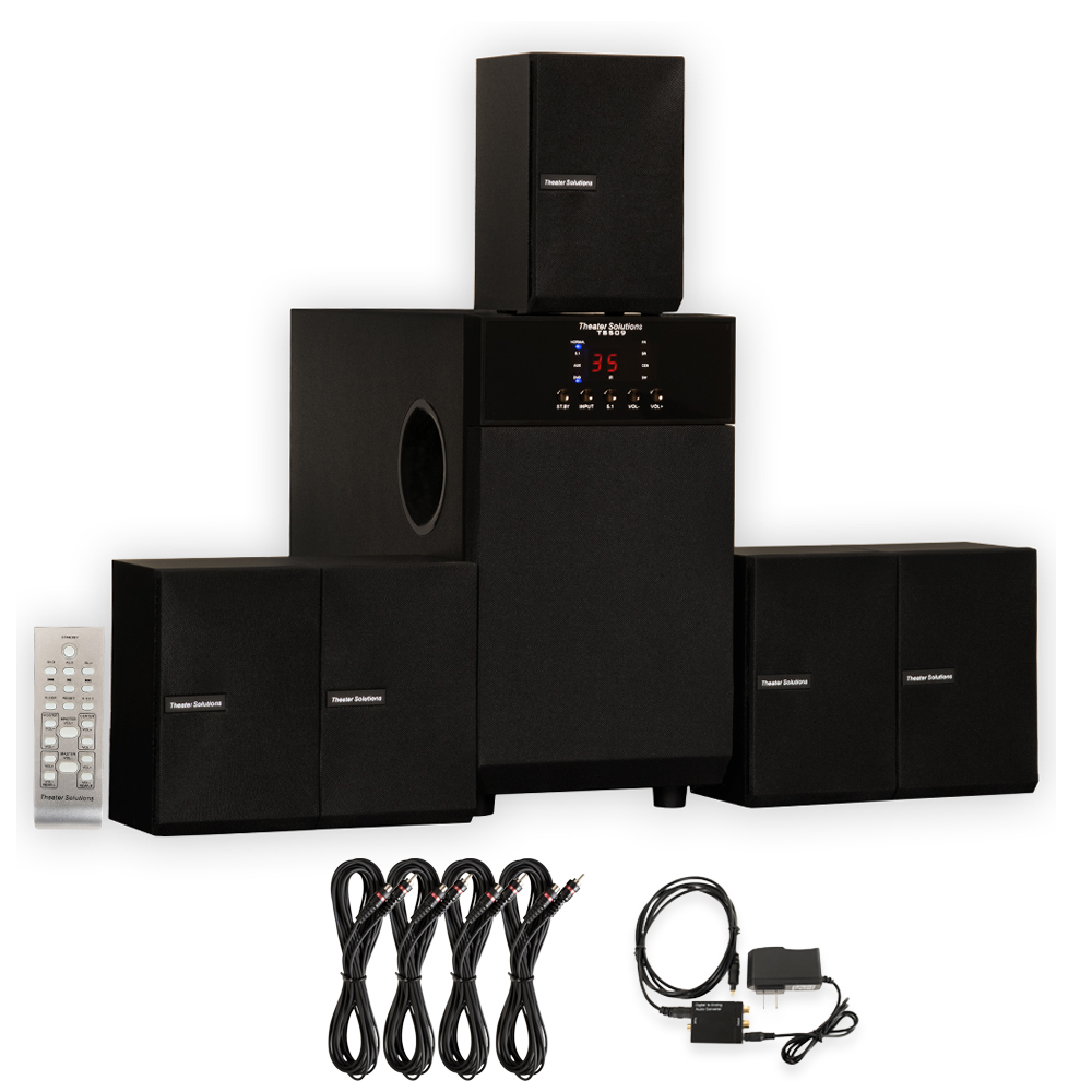 Theater Solutions TS509 Home Theater 5.1 Speaker System with Optical Input and 4 Extension