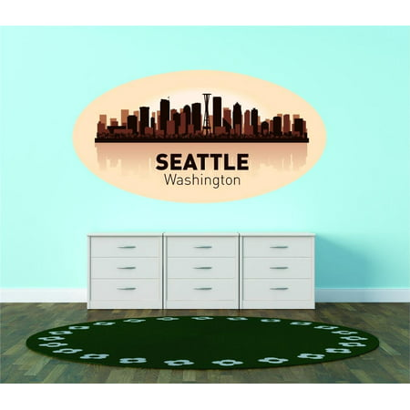 Custom City Wall Map - Custom Wall Decal Seattle Washington United States Major City Geographical Map Landmark - Vinyl Wall - 12x20