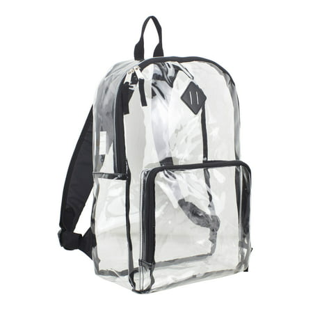 Eastsport Multi-Purpose Clear Backpack with Front Pocket, Adjustable Straps and Lash