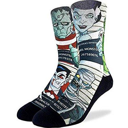 Socks - Good Luck Sock - Men's Active Fit - Halloween Mugshots (8-13) 4132