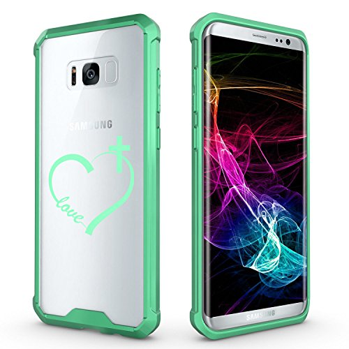 For Samsung Galaxy Clear Shockproof Bumper Case Hard Cover Love Heart Cross Christian (Mint For Samsung Galaxy S8)
