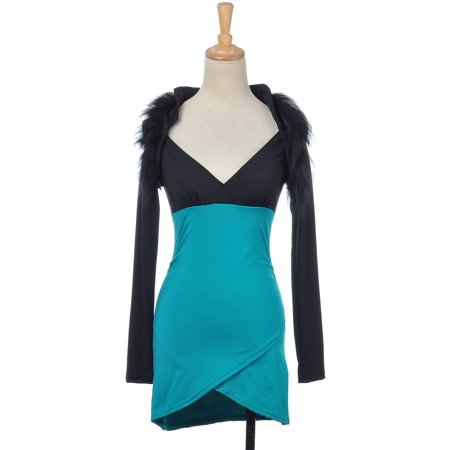 S/M Fit Blue Green Black Cruella Deville Inspired Cocktail Party Dress (Cruella Deville Outfit)