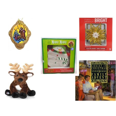 Christmas Fun Gift Bundle [5 Piece] - Holy Family Nativity Porcelain Ornament - Deck The Halls Lighted Burst Gold Tree Topper - Cracker Barrel Serveware Snowman Bowl & Spreader -