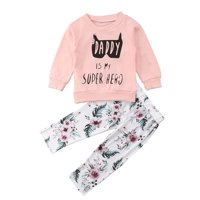2Pcs Newborn Kids Baby Boys Girls Batman Flower Tops Long Pants Outfits Clothes
