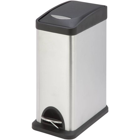 Honey Can Do TRS-06309 8L Rectangular Step Trash Can, Silver/Black (Halloween Trailer Trash)