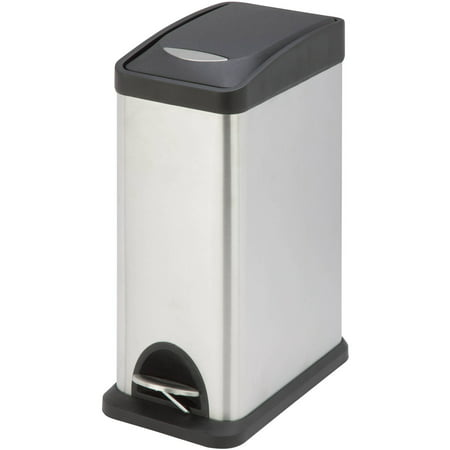 (Honey Can Do TRS-06309 8L Rectangular Step Trash Can, Silver/Black)