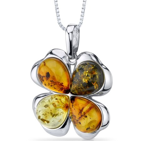 Peora Pear Shape Clover Baltic Amber Rhodium over Sterling Silver Pendant, 18