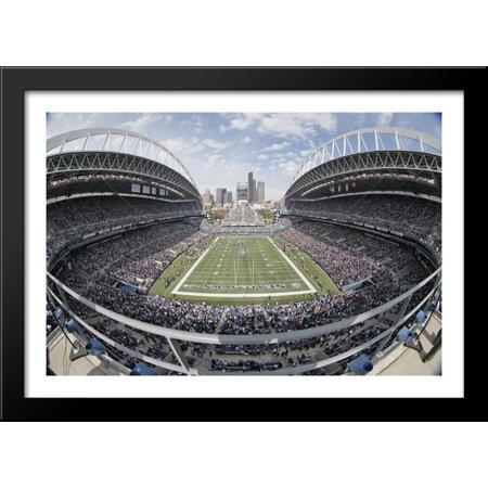 Centurylink Field 40X28 Large Black Wood Framed Print Art   Home Of The Seattle Seahawks