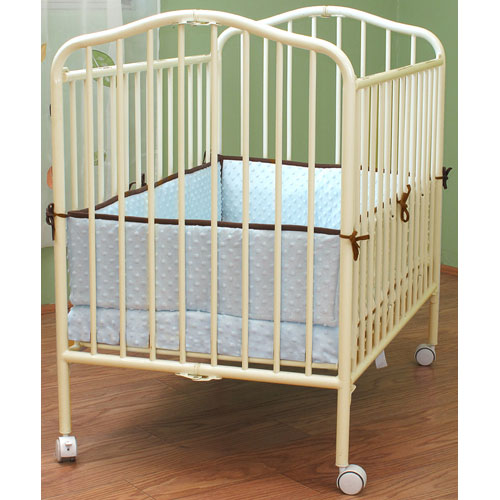 L.A. Baby Commercial Compact Folding Metal Crib - Vanilla