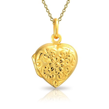 Flower Etched Heart Shaped Locket Keepsake Pendant Necklace For Women Mothers 14K Gold Plated Sterling Silver Chain