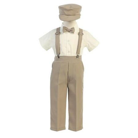 Lito Baby Boys Khaki Suspender Pants Hat Outfit Set 12 18M
