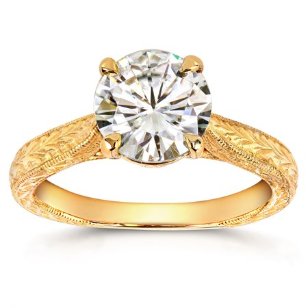 Antique Style Moissanite Engagement Ring with Diamond 1 1/2 CTW 14k Yellow (Antique Looking Engagement Ring)