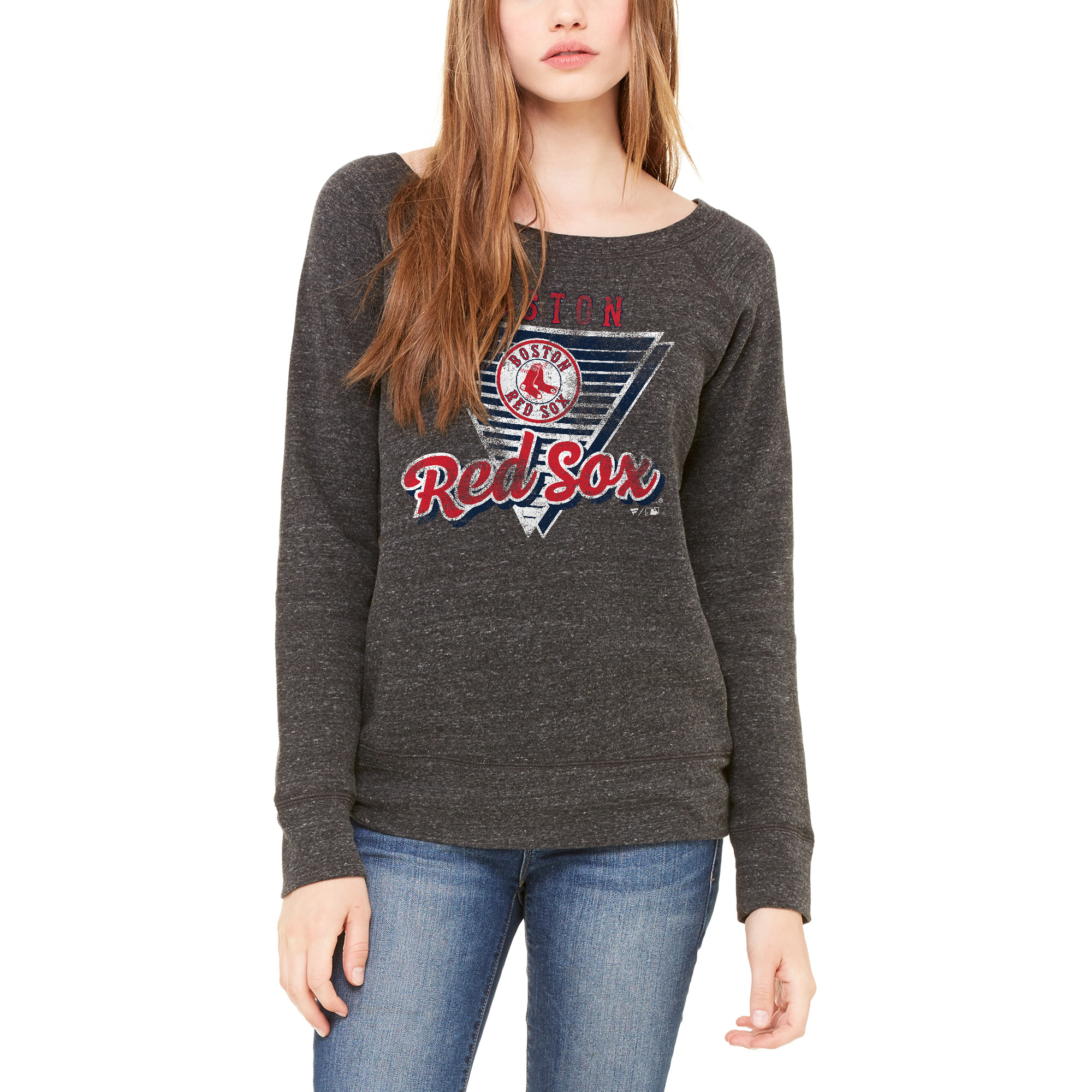 Boston Red Sox Let Loose by RNL Women's Eighty Something Wide Neck Sweatshirt - Charcoal
