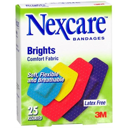 Nexcare Brights Comfort Fabric Bandages Assorted 25 Each (Pack of 3)