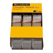 Scotch Double Sided Tape, Permanent, 1/2 in. x 250 in., 3 Dispensers/Pack