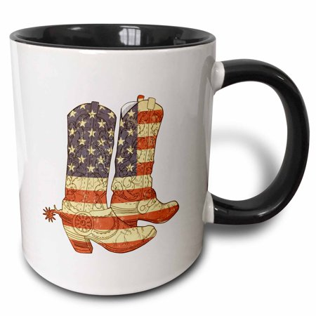 3dRose USA Flag Cowboy Boots patriotic art - Two Tone Black Mug, 11-ounce